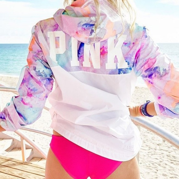 PINK Victoria's Secret Jackets & Blazers - NWT Victoria's Secret PINK Tropical Rainbow Anorak